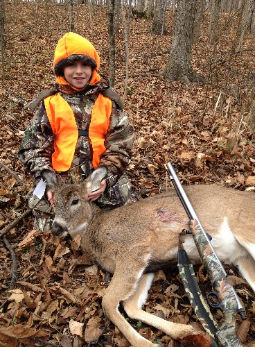 Ten year old Dale Cherry harvested this button buck on the first day of deer gun season with his muzzleloader. He is a proud graduate of the club's hunter education course.  Dale is the son of Eric Cherry.