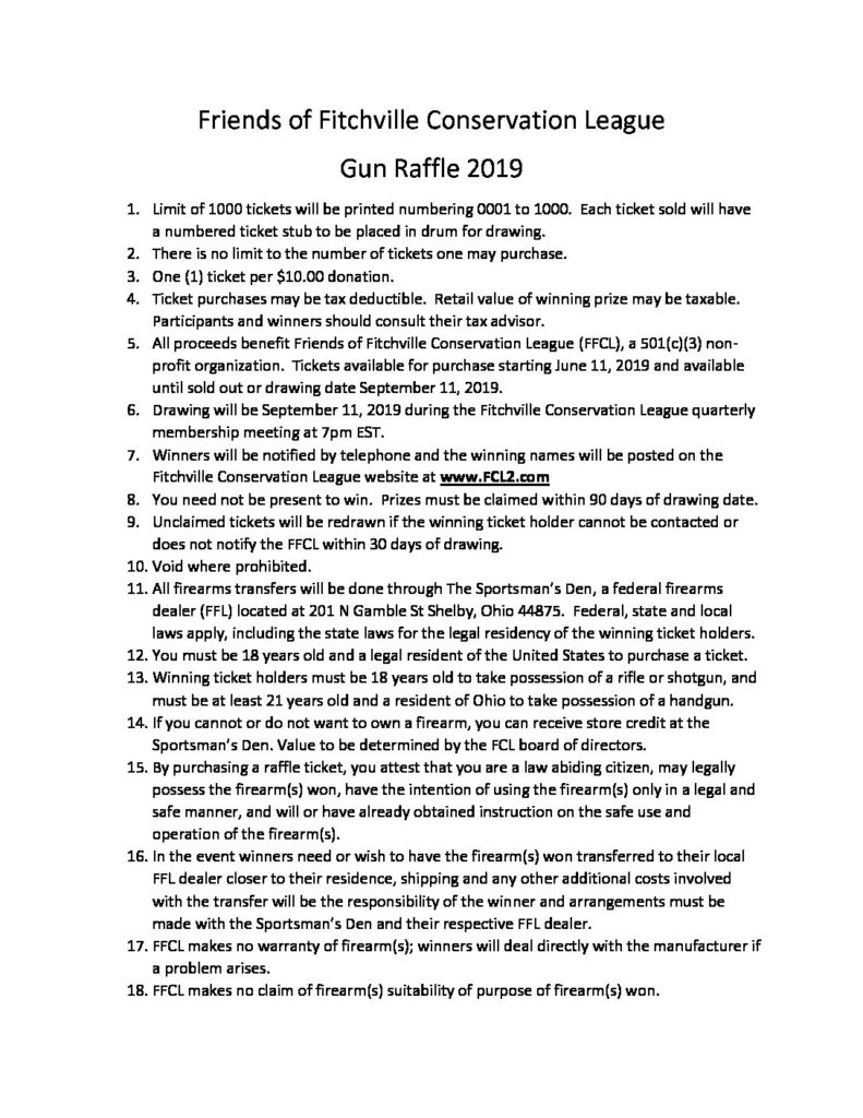 Gun Raffle | Fitchville Conservation League
